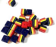 50pcs Rainbow Stripe Cubo Abalorios acrílicos de 10 mm X 9mm Stripey A Rayas