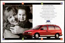 1995 FORD Windstar Vintage Original Centerfold Print AD Red car minivan child