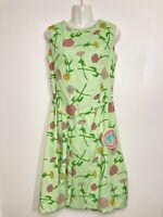 The Vested Gentress Vintage Dress Original Tags Green Screenprint Zinnia Flowers