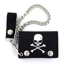 Skull & Crossbones Men's Biker Black Leather Wallet Trifold w/ Removeable Chain