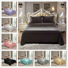 4PC /Comfortable Satin Silk Fitted Sheet Bed Flat Sheet Set Bedding Set Pillowca