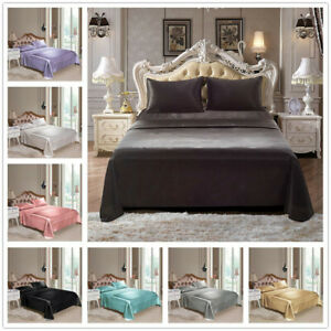 4pcs/Comfortable Satin Silk Fitted Sheet Bed Flat Sheet Set Bedding Set Pillowca