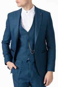 Peaky Blinders Style- Teal Blue Herringbone Tweed 3 Piece Suit with Patch Pocket