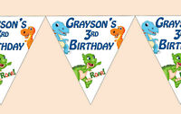 Dinosaur Birthday Party 1st 2nd 3rd 4th 5th 6th 7th 8th Bunting Banner Girl Boy