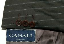 CANALI Made in Italy 58 / 46 Brown w/ White/Blue Wool 3B Dual Vent Sport Coat