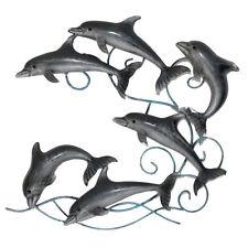 Pod Of Dolphins Metal Wall Art 50cm | Coastal Beach Hanging Sculpture
