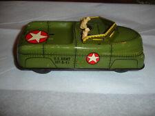 "TX ESTATE VTG Courtland 40s 50s Tin Litho US Army Vehicle Friction Toy Car 7"""