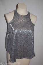 Womens SILVER GRAY SPARKLE Sequin Covered DRESSY TANK TOP Cropped RUE 21 Size S