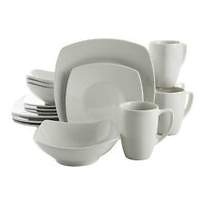 Gibson Zen Buffet 16 Piece Square Plates, Bowls, and Mugs Dinnerware Set, White
