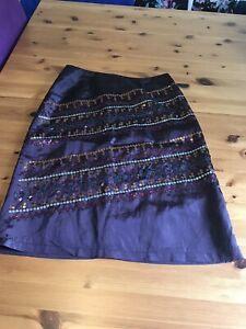 In Wear Size 8/10 Purple Shiny Sequin Knee Length Pencil Skirt Lined