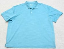 XXL Haggar Blue Polyester Polo Shirt Men's Man's Top Solid Short Sleeve 2XL