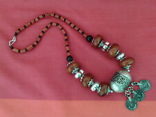 Moroccan Ethnic Berber Necklace: Red Amber Beads Silver Barrel Coin Drops NEW