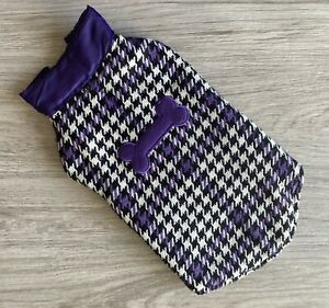 Dog Pet Purple Houndstooth  Puffer Vest Jacket 13.5 Inches