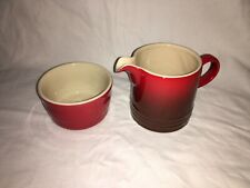LE CREUSET STONEWARE RED SUGAR BOWL AND MILK JUG NEW