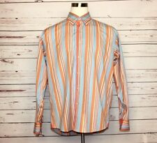 Equilibrio Luxury Men's Orange Blue Sz XL Striped Button Up Long Sleeve Shirt