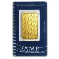1 oz Pamp Suisse Gold Bar .9999 Fine Gold With Assay Cert