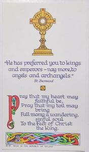 Irish Celtic Revival Holy Card Brian O' Higgins 1950s Ireland St. Bernard Prayer
