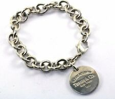 """TIFFANY & CO. ROUND """"RETURN TO"""" TAG CHAIN BRACELET 925 STERLING BR 1243"""