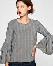 ZARA PLEATED CHECKED TOP BLOUSE-flare sleeve-white/black-size S-REF:4437/272-NWT