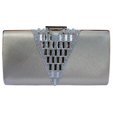 Silver Metallic Crystal Jewelled Clutch Bag Prom Party Evening BNWT