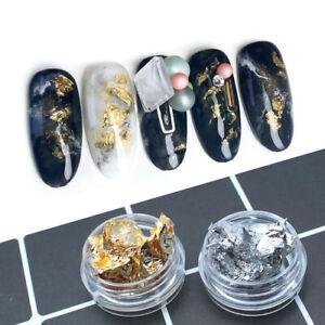 12 Döschen Nailart Gold / Silber  Folie Goldblatt Gold Flakes sehr dünn
