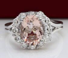 3.70 Carat Natural Morganite & Diamonds 14K White Gold Women's Ring