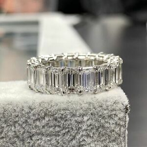 7Ct Emerald Cut Diamond Women Wedding Band Ring 14K White Gold Finish Eternity