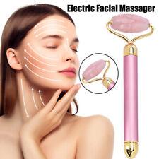 Electric Quartz Jade Metal Roller Facial Eyes Skin Anti Aging Vibration Massager
