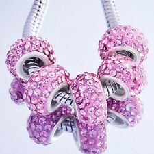 5Pcs Silver filled Pink crystal Charms Beads Fit European Charm Bracelet