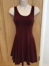 Topshop Burgundy Skater Dress - Size 8 - VGC