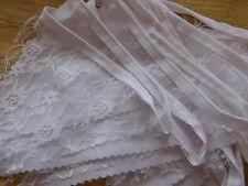 Handmade White Fabric & Lace Bunting 40ft Weddings Christenings Shabby Chic