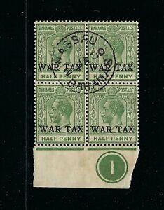 Bahamas 1918 KGV War Tax SG91 ½d FU Plate Block 4