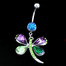 HK- Fashion Dragonfly Button Barbell Navel Belly Ring Dangle Body Piercing Jewel