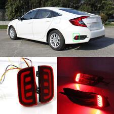 LED Rear Bumper Reflector Fog Brake Turn Indicator Lights For Honda Civic 16-18