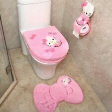 Hello Kitty set4pcs Bathroom Set Toilet Seat Cover Wc Seat Cover Bath Mat Holder
