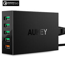 AUKEY 54W 5 PORT FAST/TURBO USB WALL CHARGER WITH QUALCOMM QUICK CHARGE 3.0
