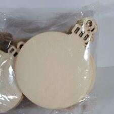 30 x BAUBLES 8cm SHAPE PLAIN UNPAINTED BLANK WOODEN CHRISTMAS TREE ORNAMENT TAG