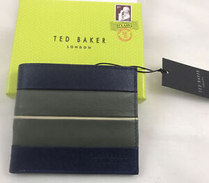 Ted Baker Bifold Textured Bovine Leather Wallet Navy & Grey (BNWT - boxed)