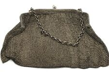 Vintage Early 20th Century Sterling Silver 925 Aquamarine Clasp Chain Mesh Purse