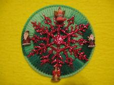 Green Round Christmas Magnet Red Snowflake Angel Santas Trumpet Plastic Canvas