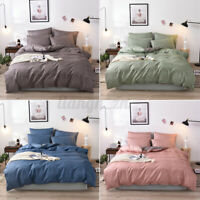 Plain Dyed Duvet Quilt Cover Bedding Set With Pillowcase Single Double King √ &