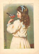 Children, Little Girl And Her Pet Bird, Vintage 1914 Antique Art Print