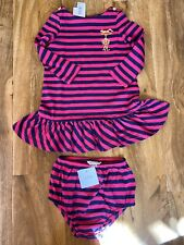 Polo Ralph Lauren Girl's Pink & Navy Stripes Dress & Knickers For 12 Months BNWT