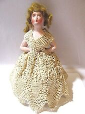 BISQUE VINTAGE ANTIQUE PINCUSHION DOLL RED HAIR CROCHETED DRESS