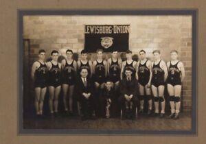 Vintage Pair 1920s Basketball High School Boys Team Photographs Matted Antique