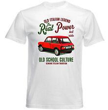 VINTAGE ITALIAN CAR AUTOBIANCHI A112 ABARTH reale Potere-Nuovo T-shirt di cotone