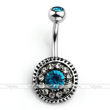Barbell Belly Navel Ring Bar Piercing 14G Silver Stainless Steel Crystal Shield