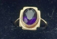 9ct Yellow Gold Large Art Deco Purple Amethyst Ring Size M 1/2 US 6.50 Nice