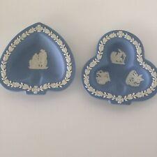New ListingWedgwood Jasperware White On Blue Spade And Club Ashtrays Lot Of 2 Vintage