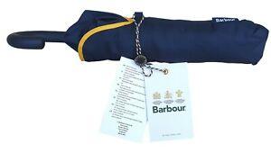 BARBOUR Unisex Small Classic Manual Telescopic Folding Umbrella Navy Blue Yellow